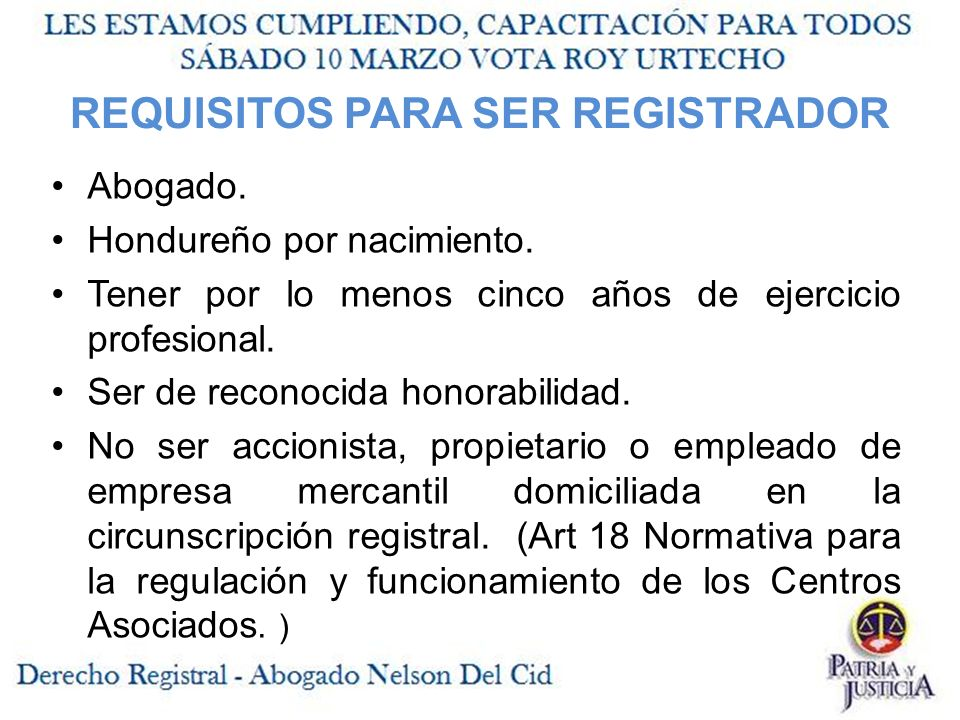 REQUISITOS PARA SER REGISTRADOR