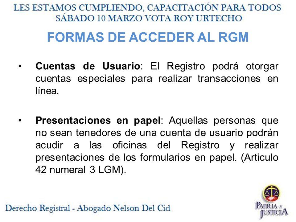 FORMAS DE ACCEDER AL RGM