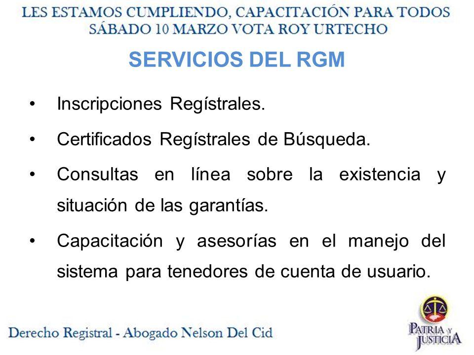 SERVICIOS DEL RGM Inscripciones Regístrales.