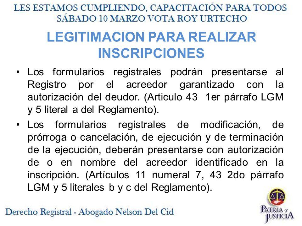 LEGITIMACION PARA REALIZAR INSCRIPCIONES