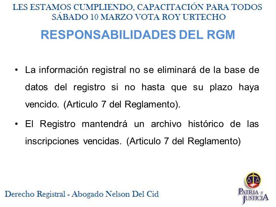 RESPONSABILIDADES DEL RGM