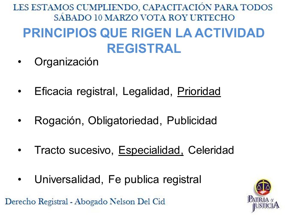 PRINCIPIOS QUE RIGEN LA ACTIVIDAD REGISTRAL