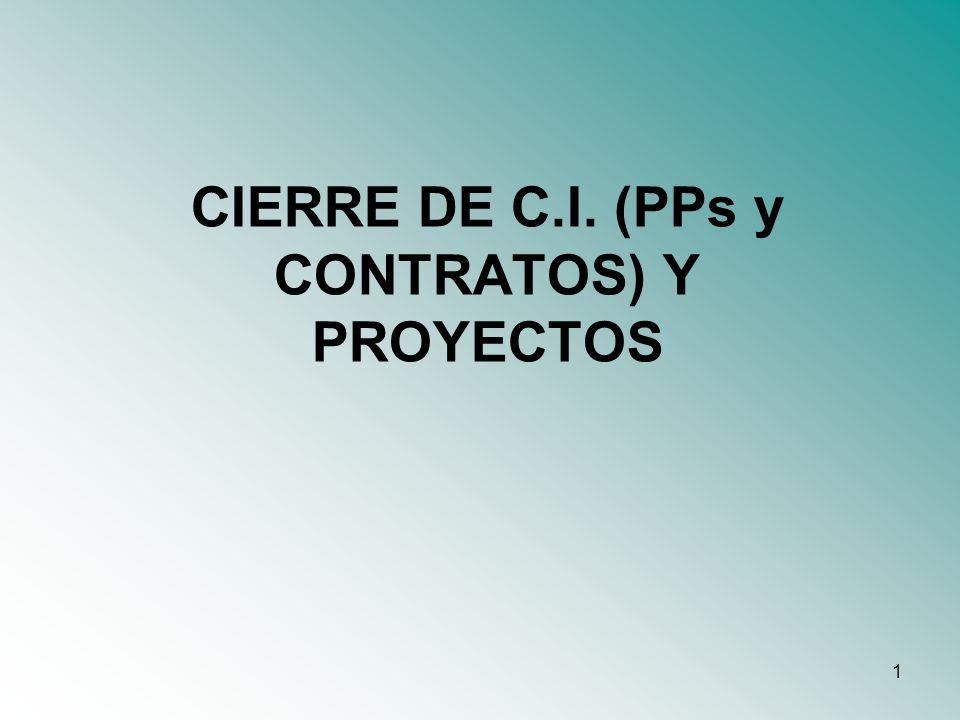 CIERRE DE C.I. (PPs y CONTRATOS) Y PROYECTOS