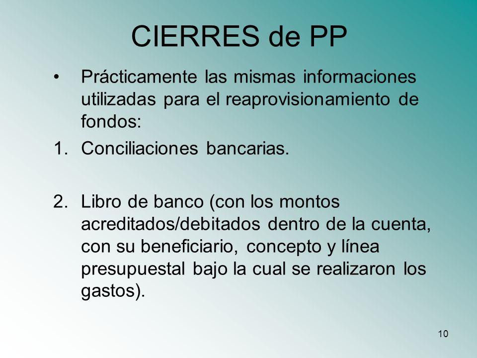 CIERRES de PP Prácticamente las mismas informaciones utilizadas para el reaprovisionamiento de fondos:
