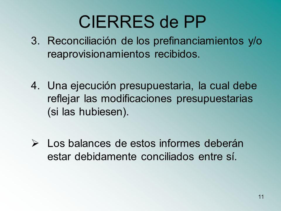 CIERRES de PP Reconciliación de los prefinanciamientos y/o reaprovisionamientos recibidos.