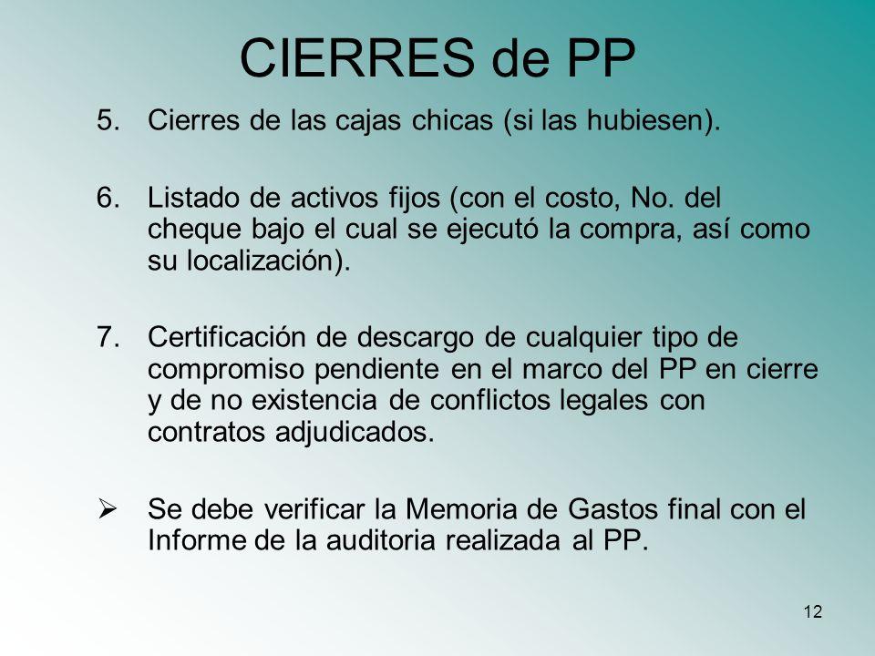 CIERRES de PP Cierres de las cajas chicas (si las hubiesen).