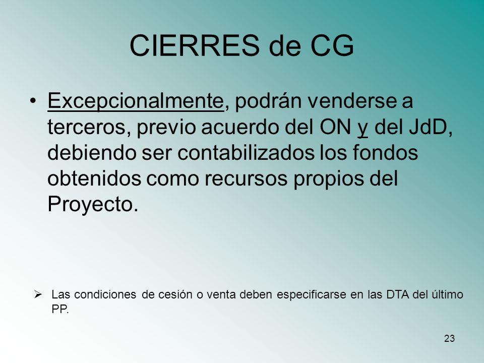 CIERRES de CG