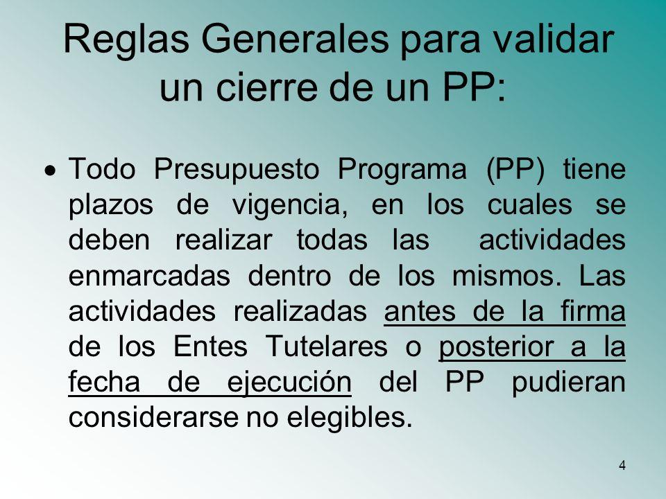Reglas Generales para validar un cierre de un PP: