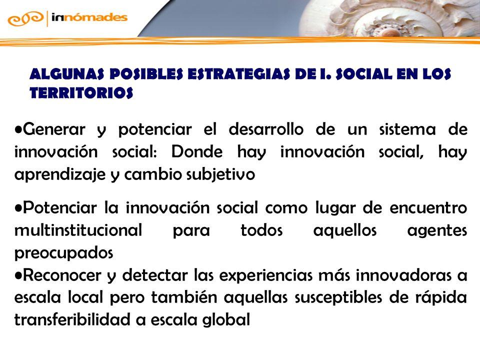 ALGUNAS POSIBLES ESTRATEGIAS DE I. SOCIAL EN LOS TERRITORIOS