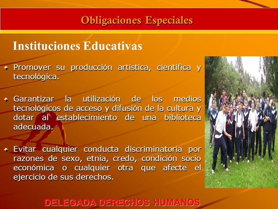 OBLIGACIONES ESPECIALES DE LAS INSTITUCIONES EDUCATIVAS