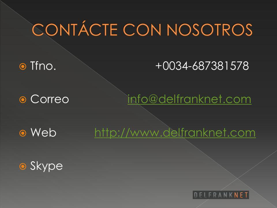 CONTÁCTE CON NOSOTROS Tfno. +0034-687381578