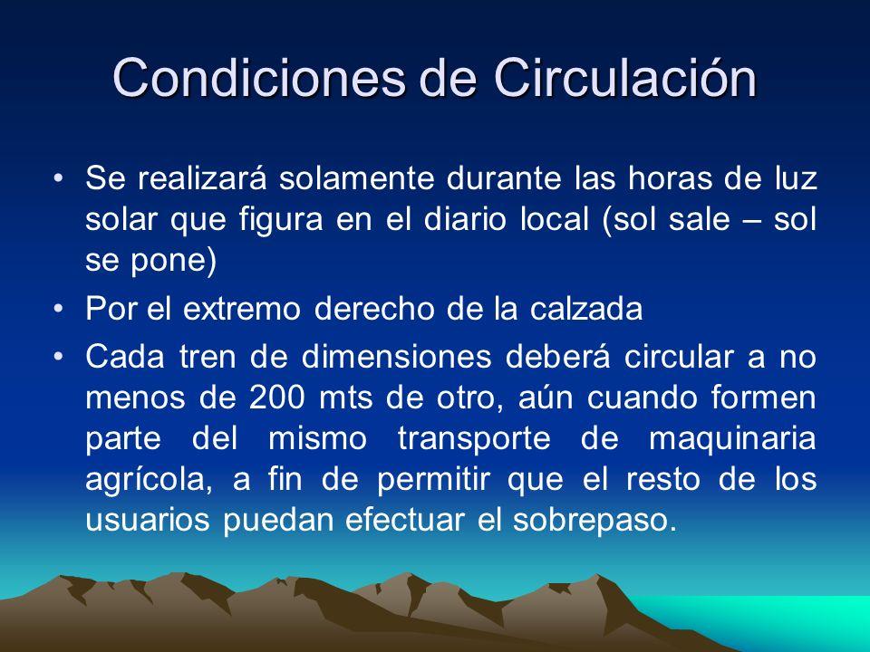 Condiciones de Circulación
