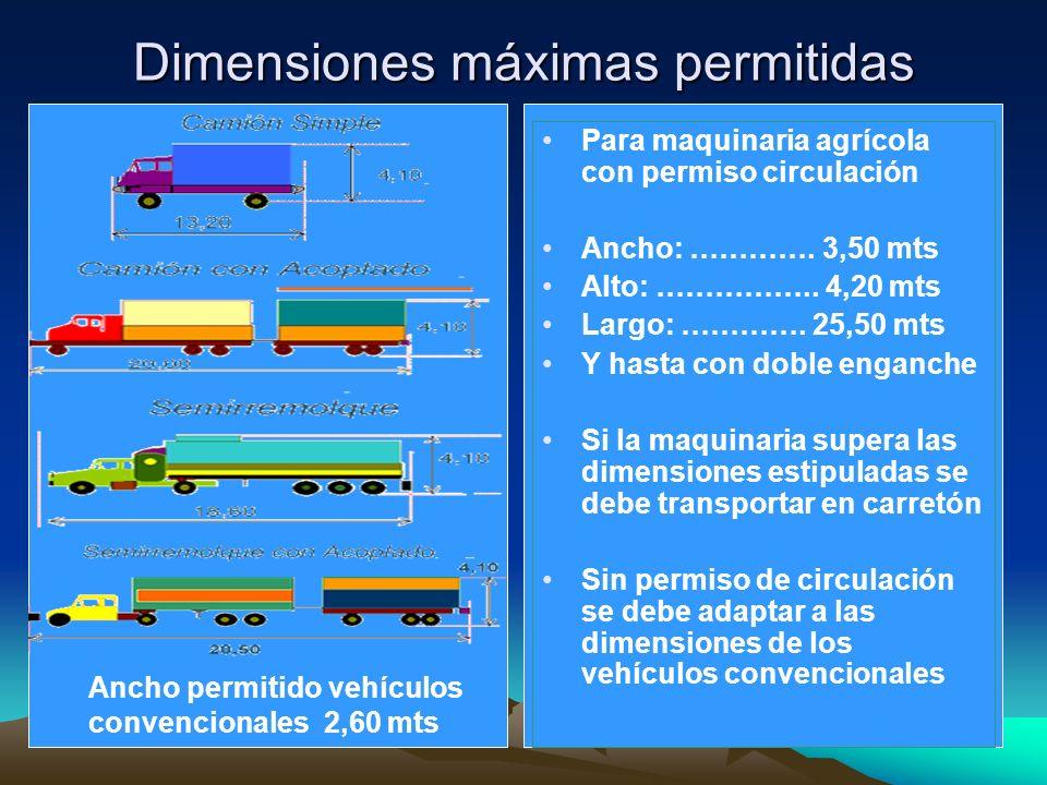 Dimensiones máximas permitidas