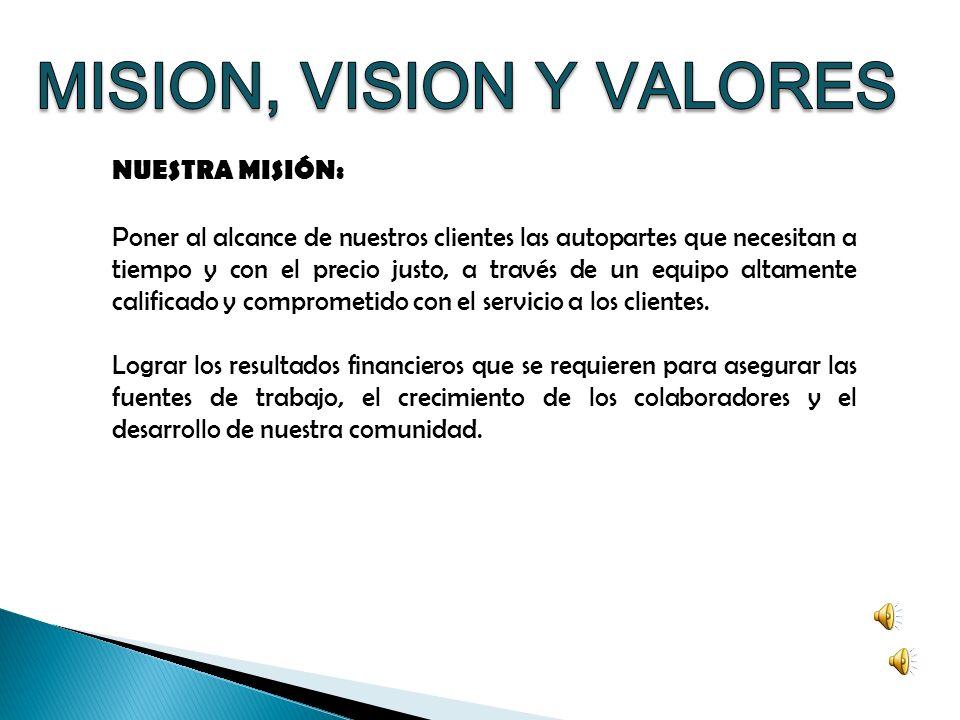 MISION, VISION Y VALORES