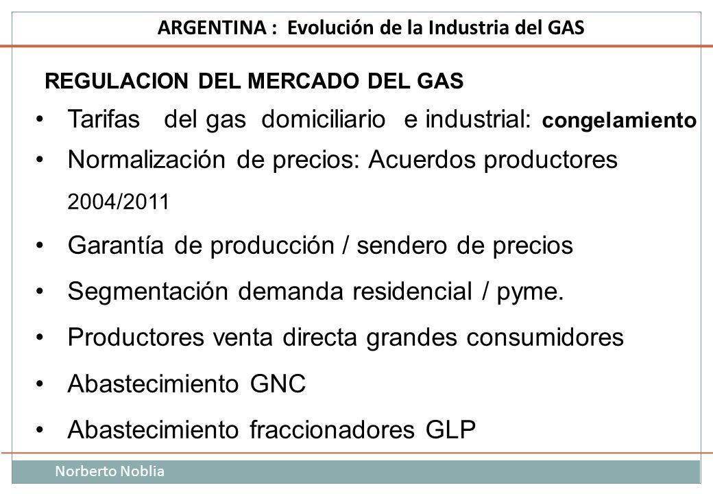 Tarifas del gas domiciliario e industrial: congelamiento