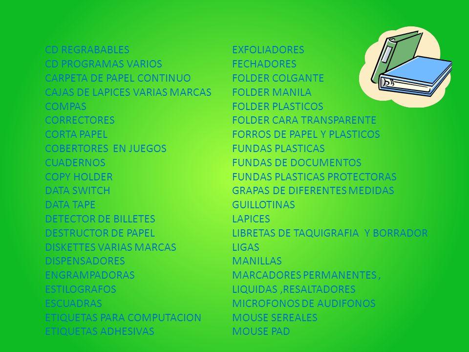 CD REGRABABLES CD PROGRAMAS VARIOS. CARPETA DE PAPEL CONTINUO. CAJAS DE LAPICES VARIAS MARCAS. COMPAS.