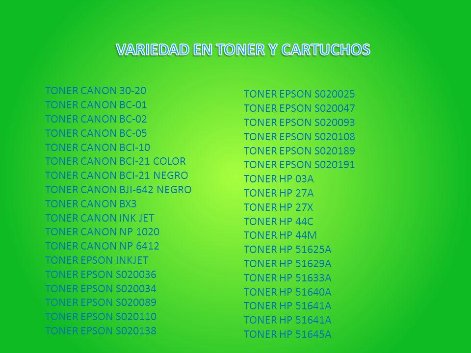 VARIEDAD EN TONER Y CARTUCHOS