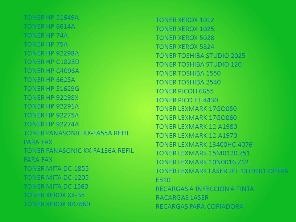 TONER HP 51649A TONER HP 6614A. TONER HP 74A. TONER HP 75A. TONER HP 92298A. TONER HP C1823D. TONER HP C4096A.