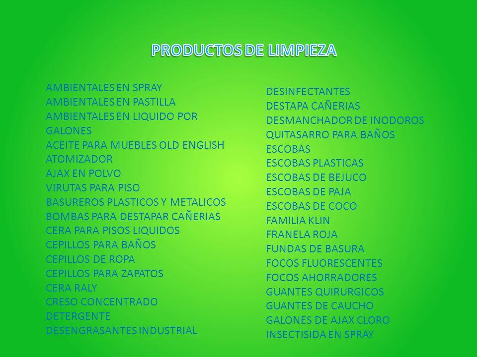 PRODUCTOS DE LIMPIEZA AMBIENTALES EN SPRAY DESINFECTANTES