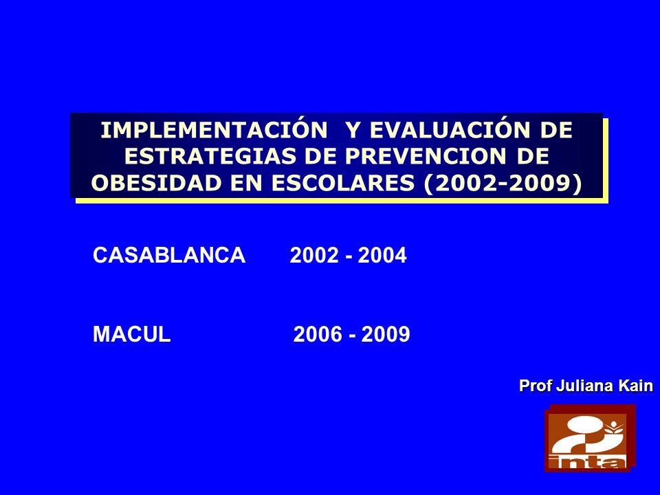 IMPLEMENTACIÓN Y EVALUACIÓN DE ESTRATEGIAS DE PREVENCION DE OBESIDAD EN ESCOLARES (2002-2009)