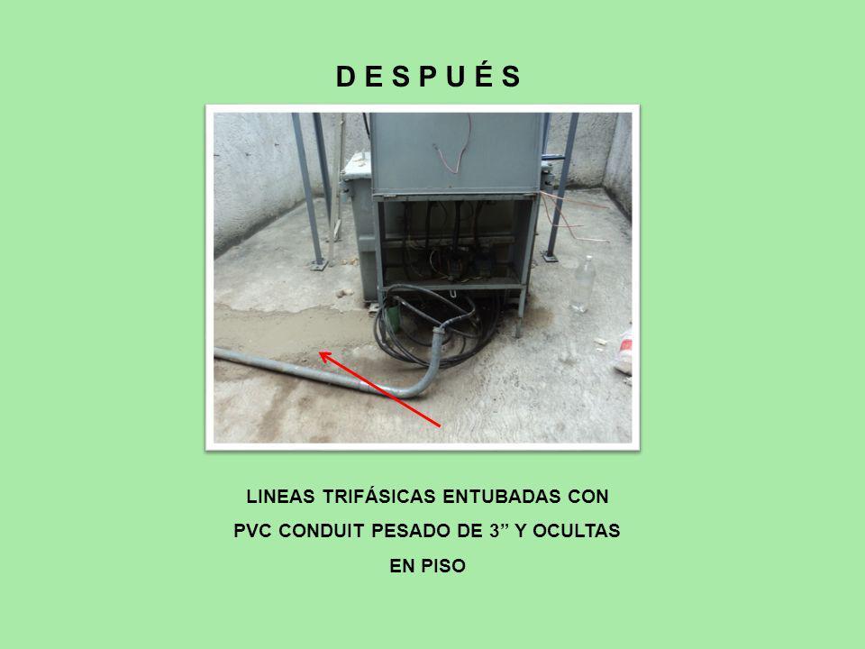 LINEAS TRIFÁSICAS ENTUBADAS CON PVC CONDUIT PESADO DE 3 Y OCULTAS