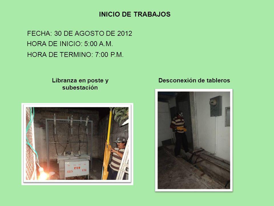 Libranza en poste y subestación Desconexión de tableros