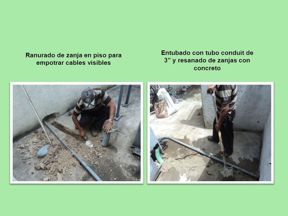 Entubado con tubo conduit de 3 y resanado de zanjas con concreto