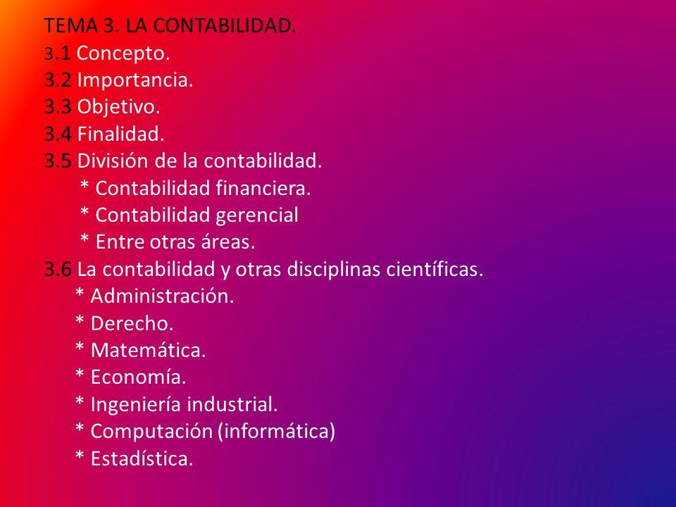 TEMA 3. LA CONTABILIDAD. 3.1 Concepto. 3.2 Importancia.