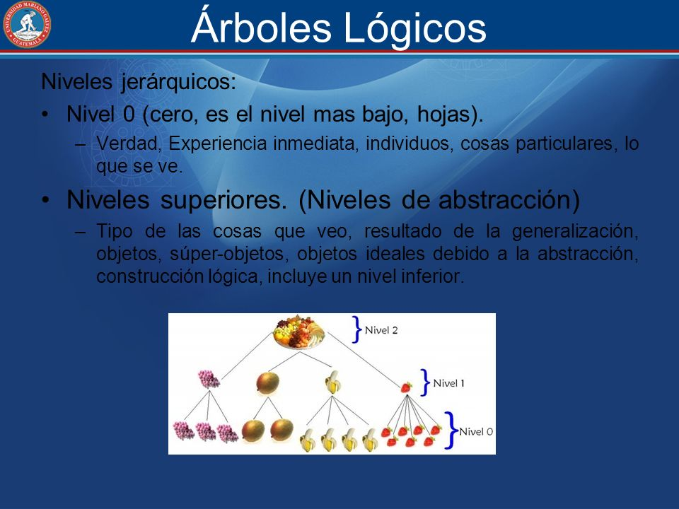 Árboles Lógicos Niveles superiores. (Niveles de abstracción)