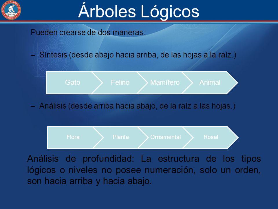 Árboles Lógicos Pueden crearse de dos maneras: Síntesis (desde abajo hacia arriba, de las hojas a la raíz.)