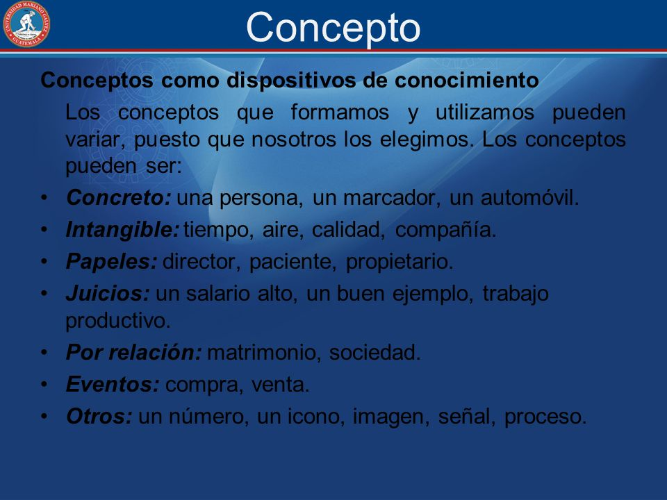 Concepto Conceptos como dispositivos de conocimiento