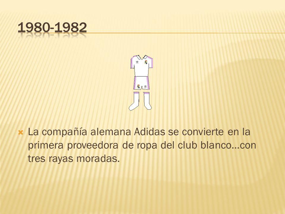1980-1982 La compañía alemana Adidas se convierte en la primera proveedora de ropa del club blanco…con tres rayas moradas.