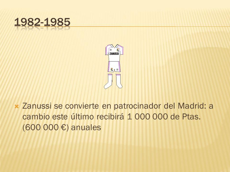 1982-1985Zanussi se convierte en patrocinador del Madrid: a cambio este último recibirá 1 000 000 de Ptas.
