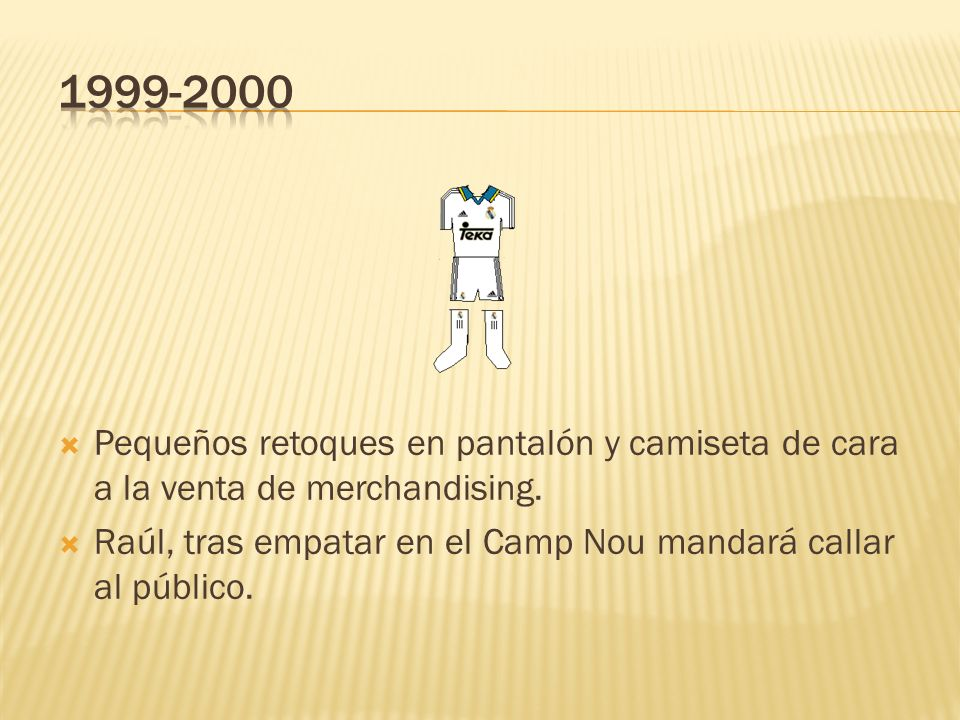 1999-2000 Pequeños retoques en pantalón y camiseta de cara a la venta de merchandising.