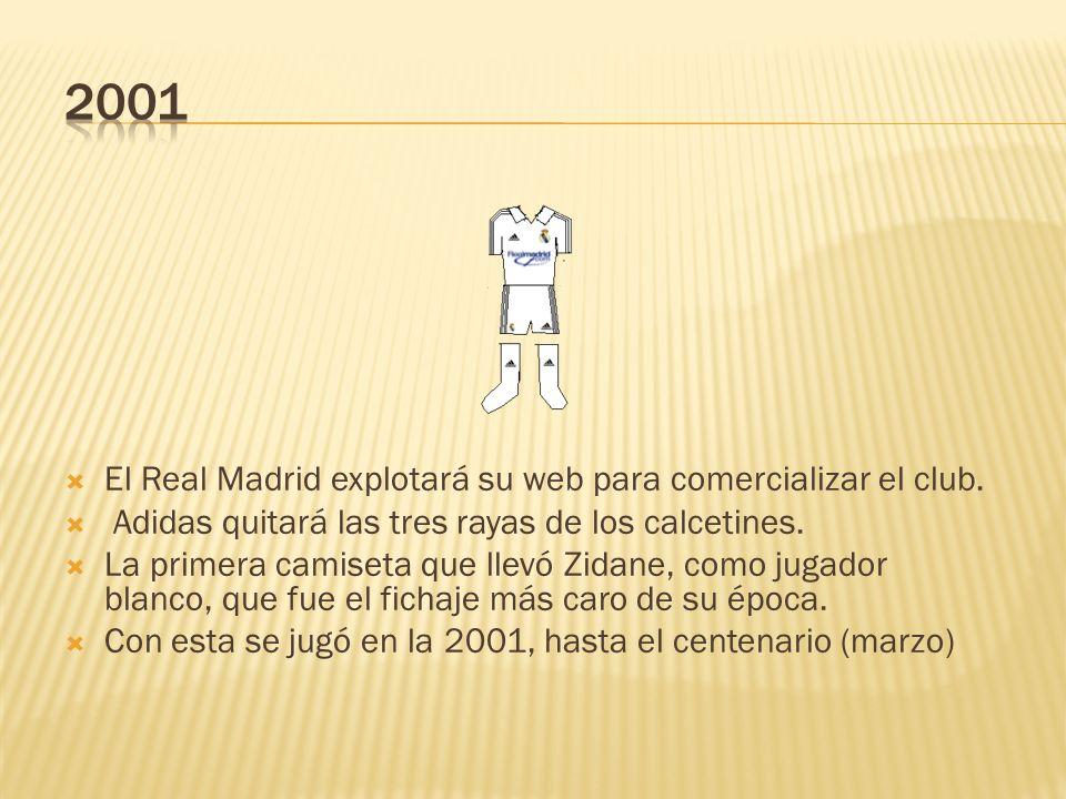 2001 El Real Madrid explotará su web para comercializar el club.