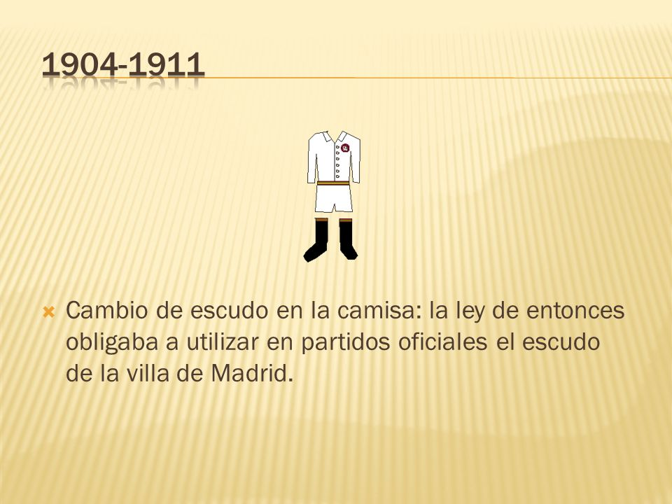 1904-1911Cambio de escudo en la camisa: la ley de entonces obligaba a utilizar en partidos oficiales el escudo de la villa de Madrid.