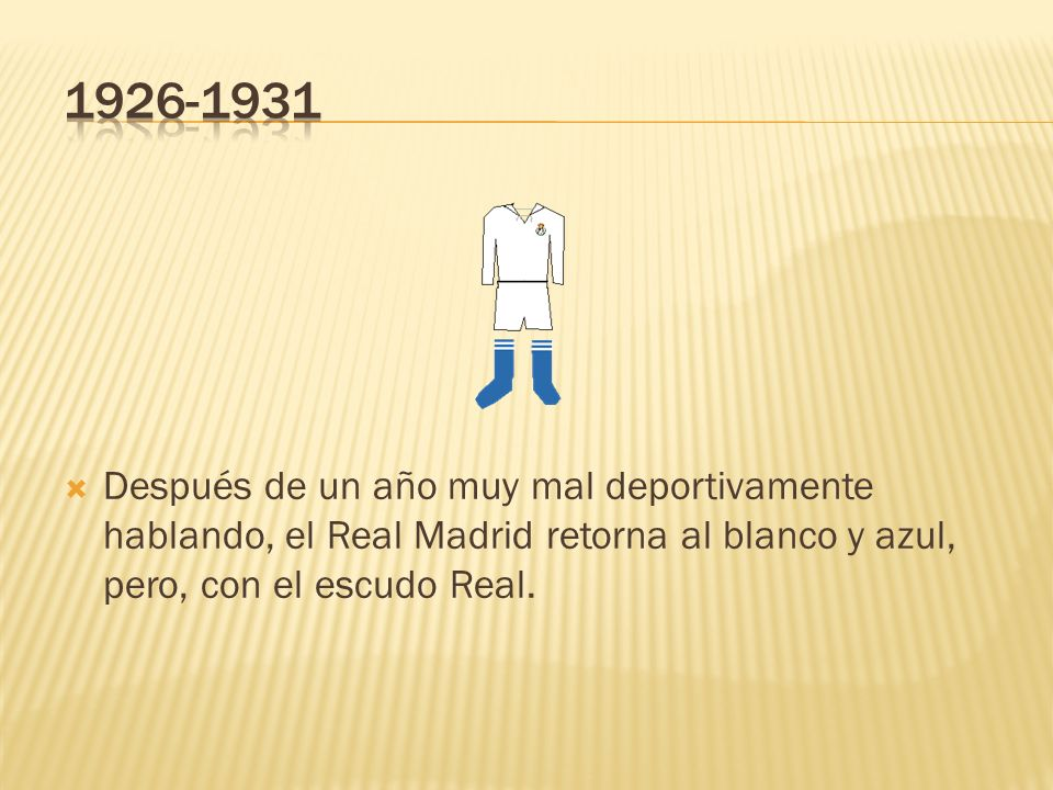 1926-1931 Después de un año muy mal deportivamente hablando, el Real Madrid retorna al blanco y azul, pero, con el escudo Real.