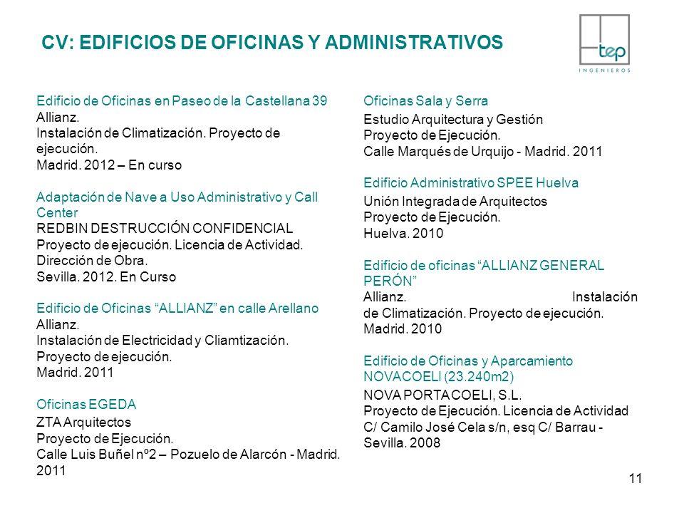 CV: EDIFICIOS DE OFICINAS Y ADMINISTRATIVOS