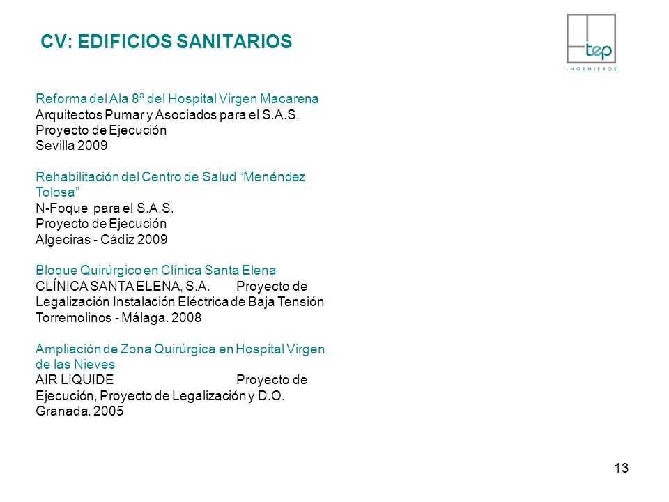 CV: EDIFICIOS SANITARIOS