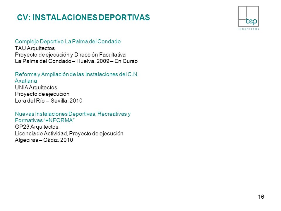 CV: INSTALACIONES DEPORTIVAS