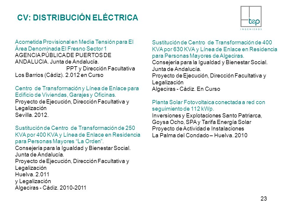 CV: DISTRIBUCIÓN ELÉCTRICA