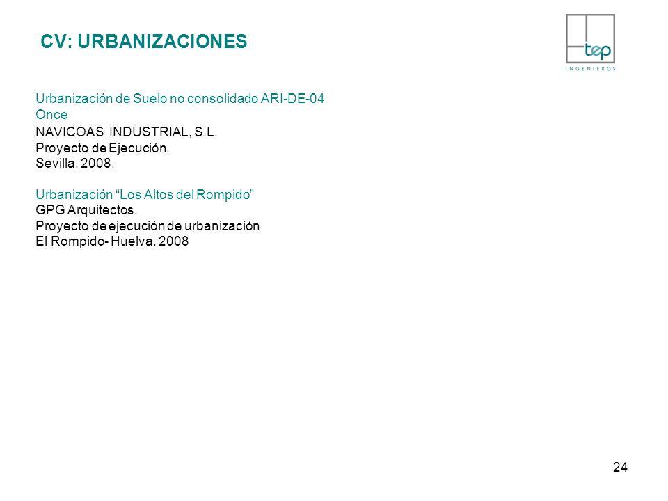 CV: URBANIZACIONES Urbanización de Suelo no consolidado ARI-DE-04 Once NAVICOAS INDUSTRIAL, S.L.