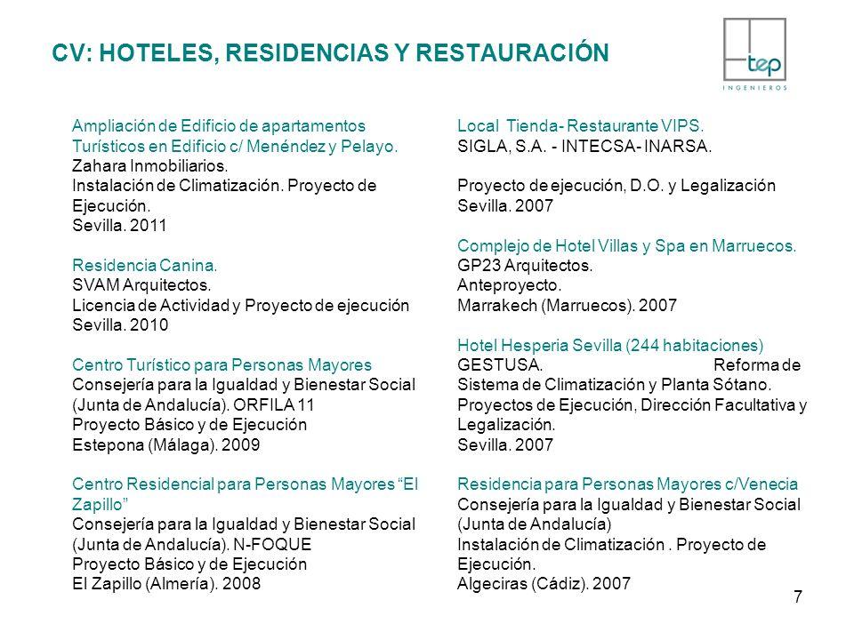 CV: HOTELES, RESIDENCIAS Y RESTAURACIÓN