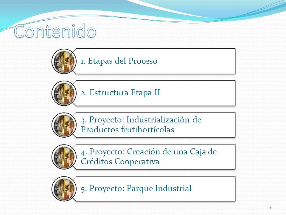 Contenido 1. Etapas del Proceso 2. Estructura Etapa II