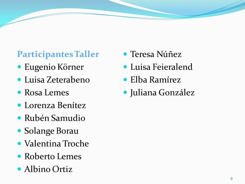 Participantes Taller Teresa Núñez. Eugenio Körner. Luisa Feieralend. Luisa Zeterabeno. Elba Ramírez.