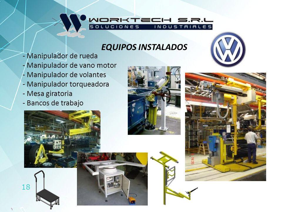 EQUIPOS INSTALADOS Manipulador de rueda Manipulador de vano motor