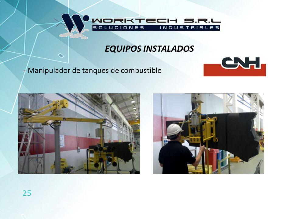 EQUIPOS INSTALADOS Manipulador de tanques de combustible