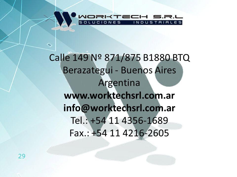 Calle 149 Nº 871/875 B1880 BTQ Berazategui - Buenos Aires Argentina