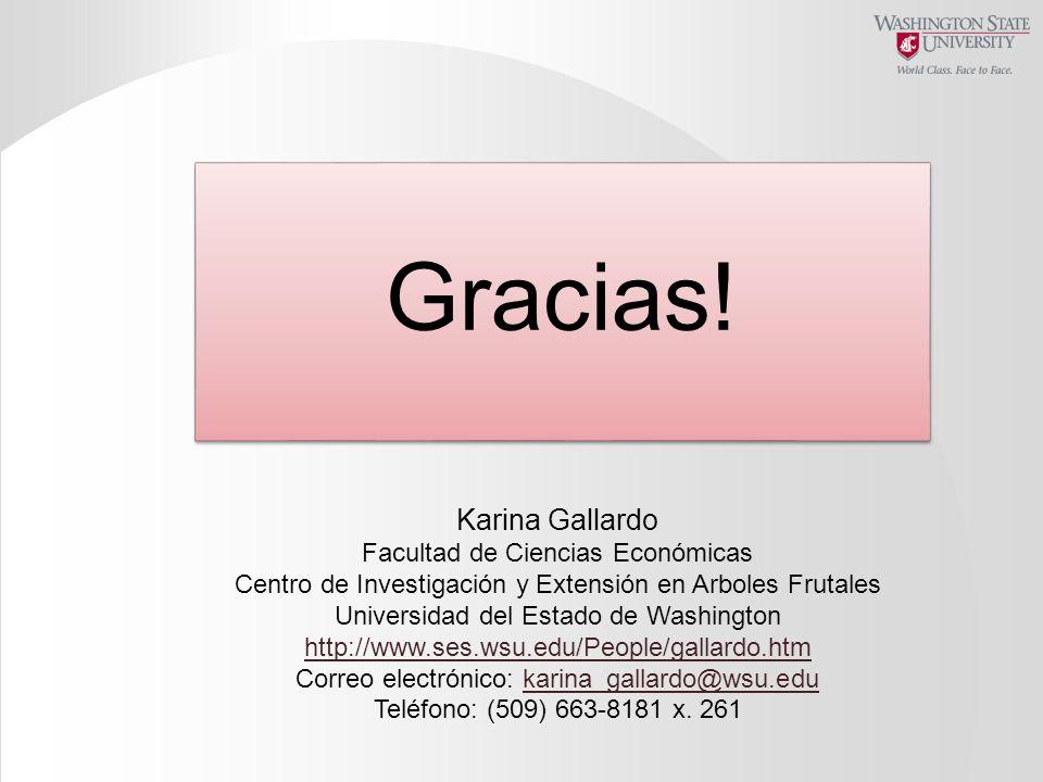 Gracias! Karina Gallardo Facultad de Ciencias Económicas