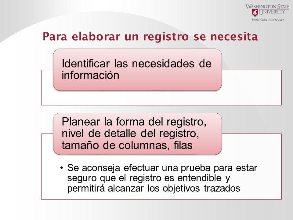 Para elaborar un registro se necesita
